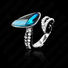 JEXXI Free Shipping 1 PC  AAA Gem Crystal Woman Rings Good Quality 925 Sterling Silver Jewelry Adjustable Size