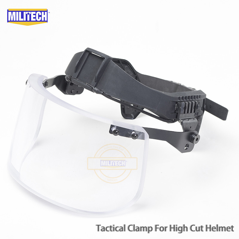 MILITECH Bulletproof Visor For High Cut Helmet Bullet Proof Ballistic Mask For FAST AIR FRAME CVC Helmet NIJ IIIA 3A Rated Visor