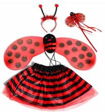 Lovely Girls Children's Headwear Magic Sticks Ladybug Wings Skirt Set Cosplay Party Halloween Costume Princess Gift