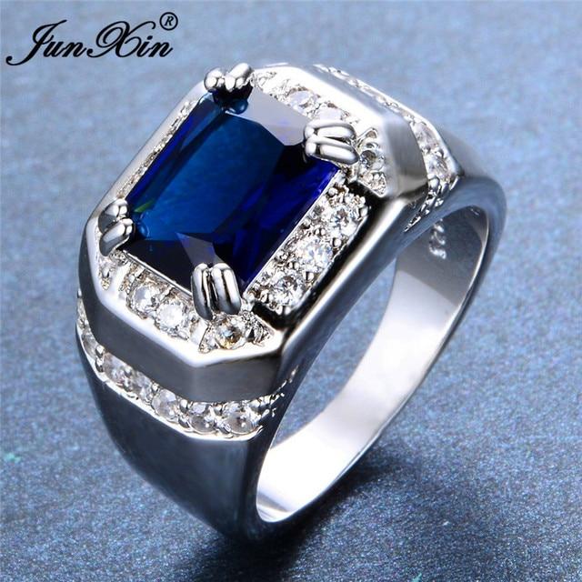 1d3fdcabf2c2 Hombre mujer azul Zircon piedra anillo moda 925 Plata geométrica joyería de  la boda promesa amor