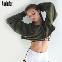 Auyiufar Fashion Hollow Out Solid Womens Cropped Sweatshirts Casual Loose O-neck Pullover Clothes For Women Autumn 2019 New
