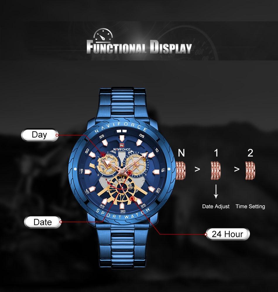 NAVIFORCE Fashion Watch For Men Top Brand Luxury Sport Watch Male Waterproof Quartz Wrist Watch Men's Stainless Steel Watch 2019 (2)