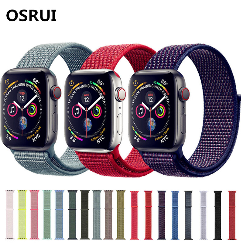Watchband For apple watch Sport Loop band series 4 44mm 40mm Woven Nylon strap correa iwatch 4/3/2/1 42mm 38mm wrist bracelet