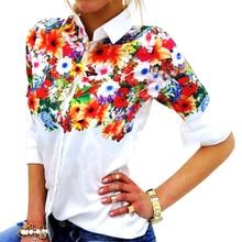 Autumn Women Top Blusas Femininas Print Floral Womens Blouse Shirt Turn Down Collar Long Sleeve Camisa