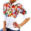 Otoño Mujeres Top Blusas Femininas Impresión Floral de Las Mujeres Blusa Gira el Collar Abajo de Manga Larga Camisa Feminina LJ3981T