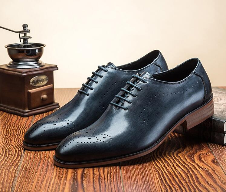 Genuine leather dress shoes men lace up smart casual carved brogues wedding Party Italian Style Mens Oxfords Brogue Shoes