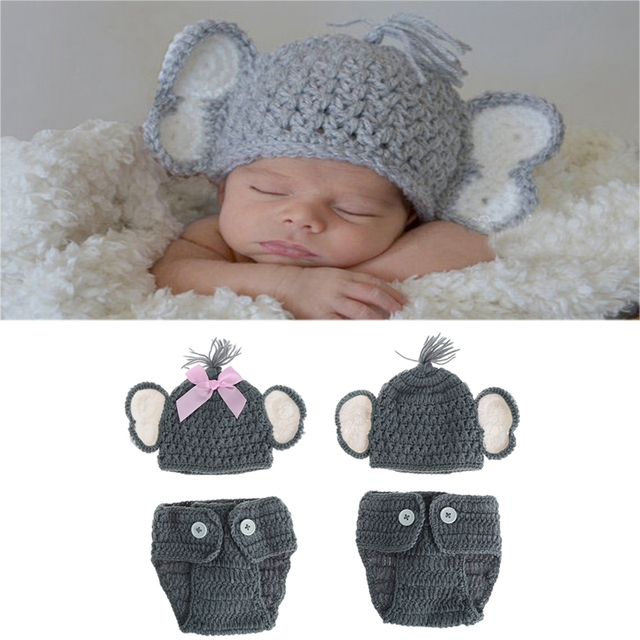 b394f5e5ea8 Newborn Baby Elephant Knit Crochet Hat Costume Photo Photography Prop  Outfits