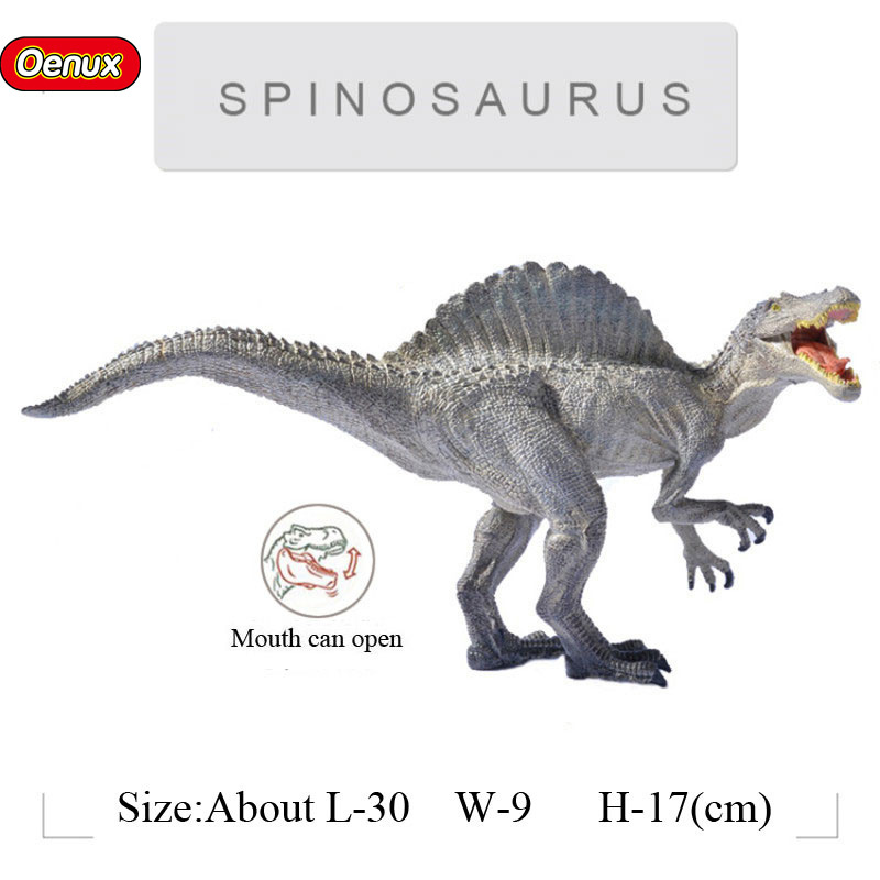 Oenux Jurassic Savage Long Spinosaurus Mouth Can Open Classic Dinossauro World Action Figures Model Toy For Boy's Gift oenux jurassic carnivorous giganotosaurus t rex mouth can open pvc dinosaurs model action figures toys for boy s gift