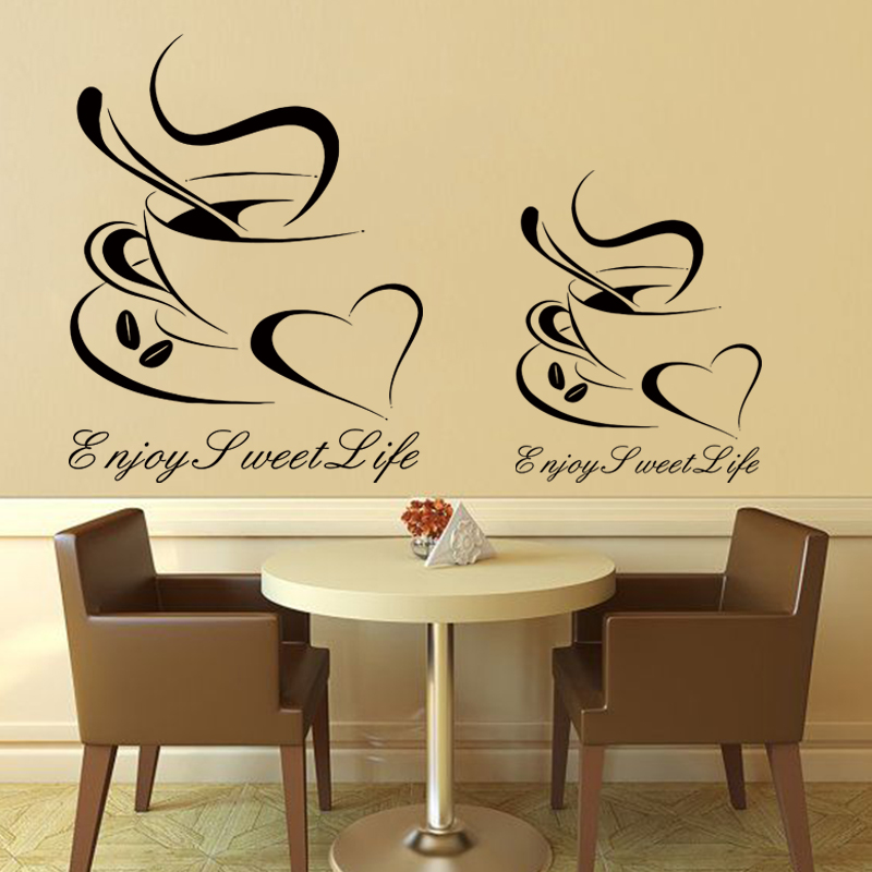 Art design cheap vinyl home decoration heart coffee cup wall sticker house decor beautiful bar decal in kitchen bar or shop in wall stickers from home
