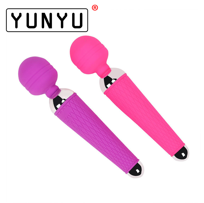Powerful oral clit Vibrators for Women USB Charge AV Magic Wand Vibrator Massager Adult Sex Toys for Woman Masturbator 2 Colors