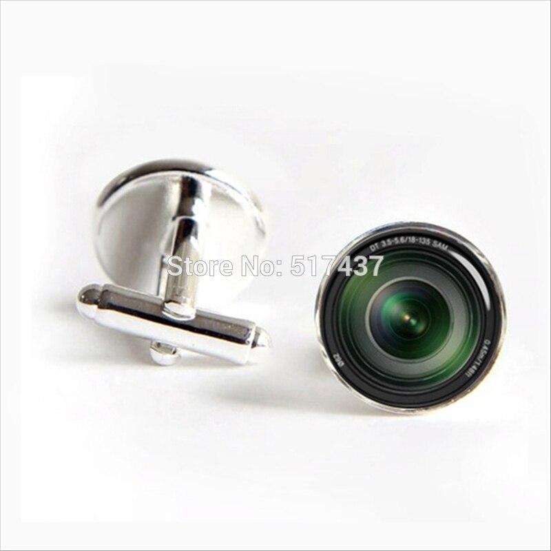 2017 Free Shipping Camera Lens Cufflinks Camera Lens Cuff link Silver Black Round Cufflinks For Women