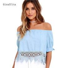 Elegant Blue Off Shoulder Female Blouse Shirt Sexy Summer 2017 Blouse Women Tops Half Sleeve Crochet Lace Charming Clothing