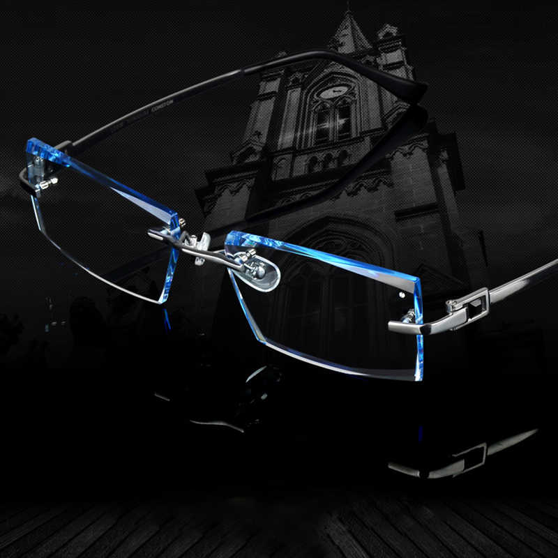 Men Glasses Titanium Rimless Eyeglasses Myopia Male Business Prescription Glass Progressive Lenses Optical Frames Clear Eyewear