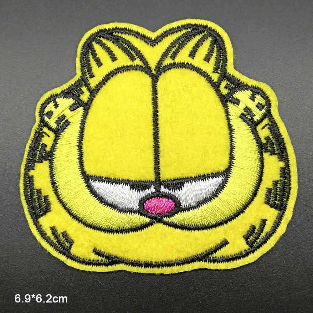 Cartoon Unhappy Cat Cock Iron on Embroidered Cloth Patch For Girls Boys Clothes Stickers Apparel Garment Accessories