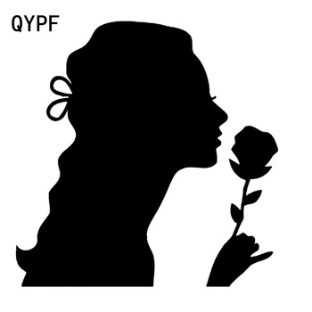 QYPF 16.8cm*16.9cm Innocence Flowers Unparalleled Girl Zero Defect Vinyl Car Sticker Artistical Design C18-0567 image