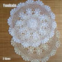 Роскошный круглый кружевной хлопковый коврик для стола кофе