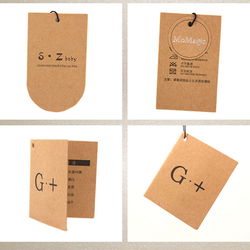 ZeQi free shipping 350gsm kraft paper hang tag brand label garment price tags for clothing