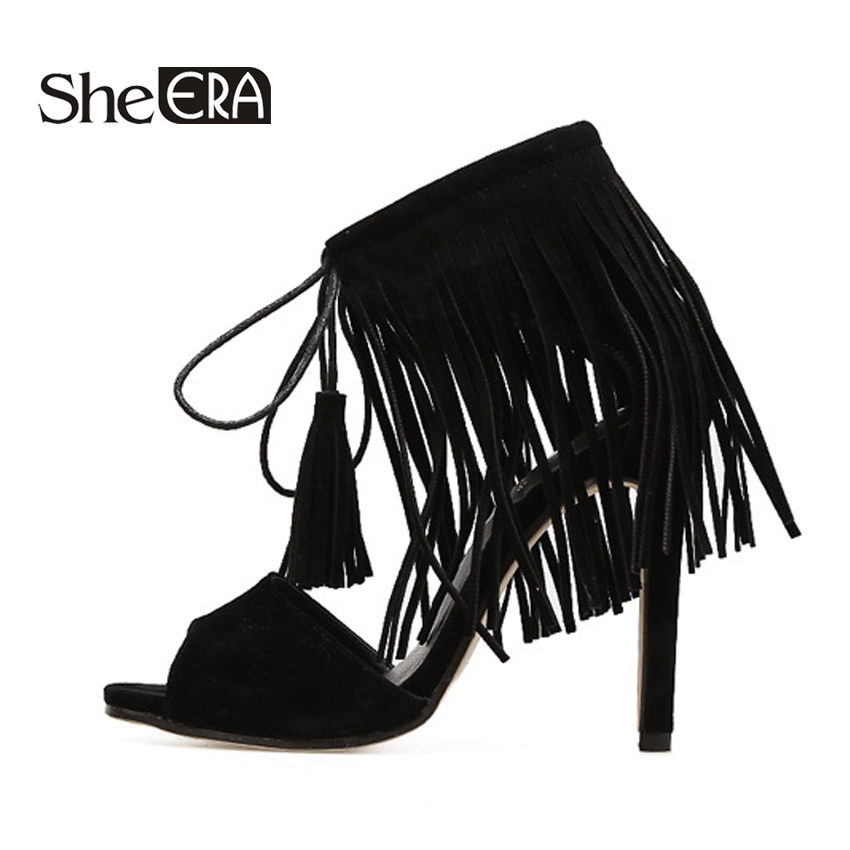 She ERA Fringe Gladiator Sandals Women Lace up High Heels Women Suede Cross Strap Sandal Summer Party Shoes
