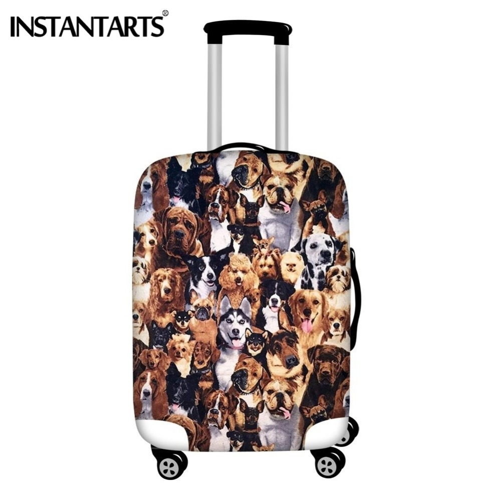 INSTANTARTS Travel Trolley Suitcase Protective Covers Dogs Face Prints Boys Girls Dust Rain Waterproof Luggage Cover 18-30 Inch