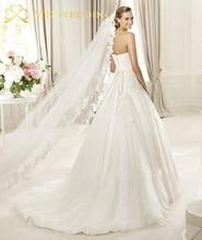 2015 Real fotos branco / marfim véu 3 m longo pente Mantilla do laço nupcial véu acessórios do casamento véu De Noiva MD3030(China (Mainland))
