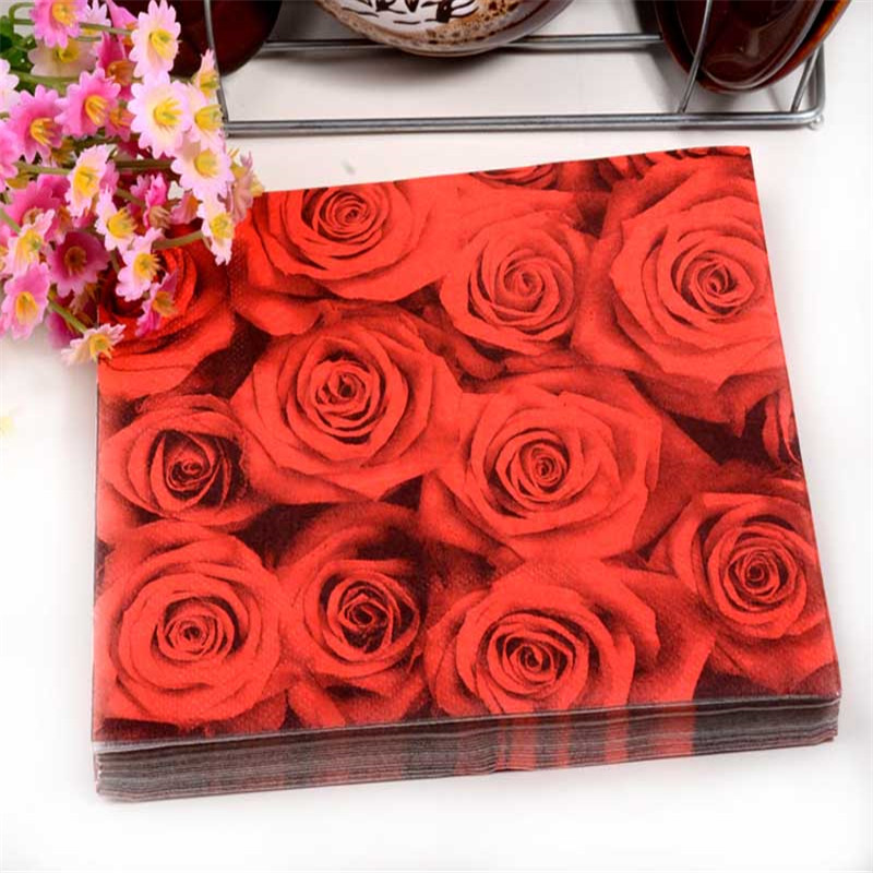 Floral red rose paper napkin flower event party tissue printed floral red rose paper napkin flower event party tissue printed napkin supply decoration 33cm33cm 20pcspacklot in disposable party tableware from home mightylinksfo