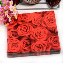 Floral Red Rose Paper Napkin Flower Event   Party Tissue Printed Napkin  Supply Decoration 33cm 33cm 20pcs pack lot f77844940e51