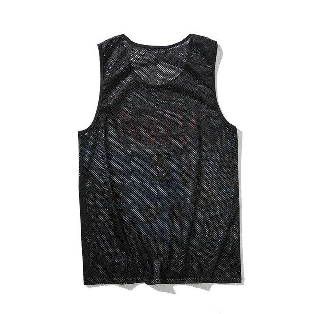 Summer tops men clothing 2018 Tank Tops Black Breathable mesh Sleeveless fitness vest Body building Hip-hop 1