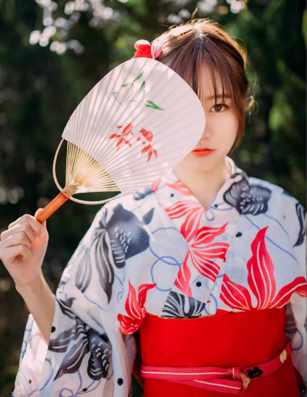 Traditional Japanese Yukata White Print Women Elegant Kimono Formal Evening Dress Classic Stage Show Clothes Cosplay Clothing