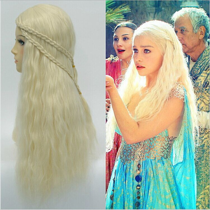 NEW A Song of Ice and Fire Season Daenerys Targaryen Cosplay Wig Halloween Play Wig Party Stage Hair