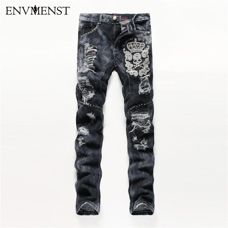 European American Style men fashion jeans cotton luxury quality slim skulls brand Straight men hole jean black denim trousers цены онлайн