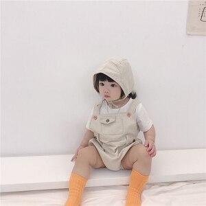 Image 5 - Letnie chłopcy i dziewczęta w 2020 r. Body niemowlęce jasne dżinsy ha yi trójkąt pełzające ubrania, aby wysłać czapki