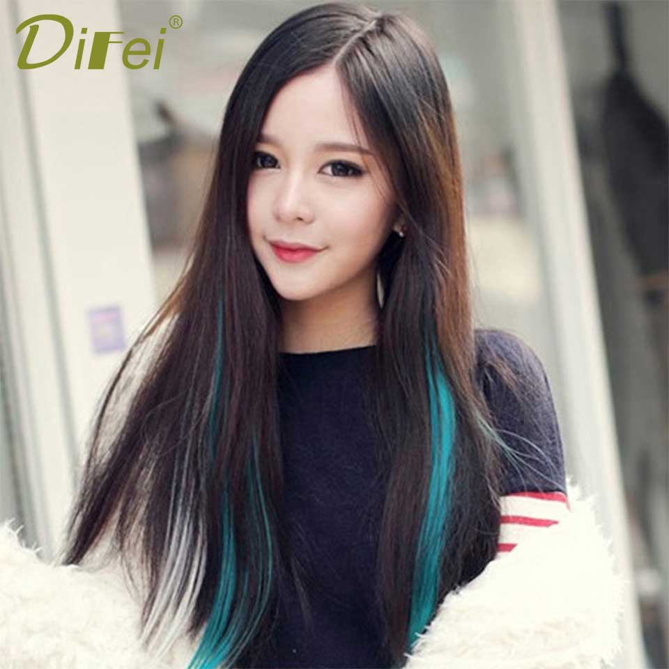 1 Clip Long Synthetic in Hair Extensions Omber 1 Piece Multi-size Heat Resistant Hair Extensions DIFEI