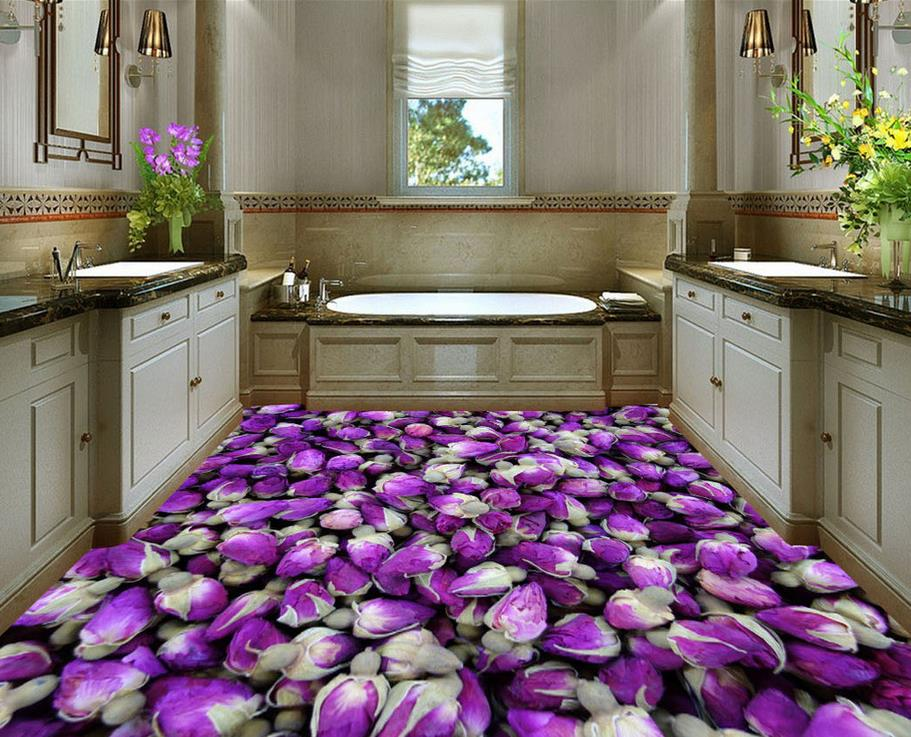 Purple rose bud custom photo self adhesive 3d floor pvc for Rose adesive