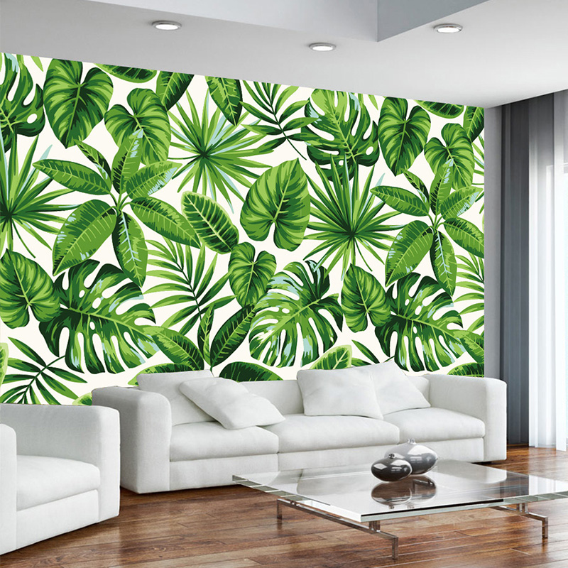 Modern Simple Photo Wallpaper 3D Rain Forest Plant Banana Leaf Pastoral Murals Wall Paper For 3 D Living Room Bedroom Home Decor