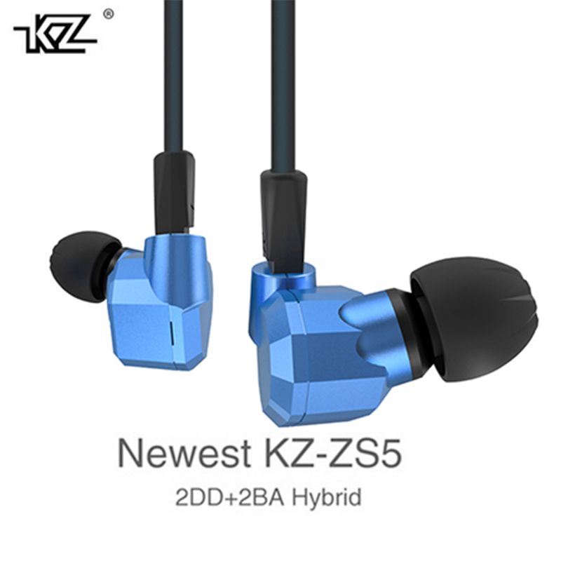 Original KZ ZS5 2DD+2BA Hybrid In Ear Earphone HIFI DJ Monito Running Sport Earphones Earplug Headset Earbud Blue Grey Colors kz ates ate atr hd9 copper driver hifi sport headphones in ear earphone for running with microphone game headset