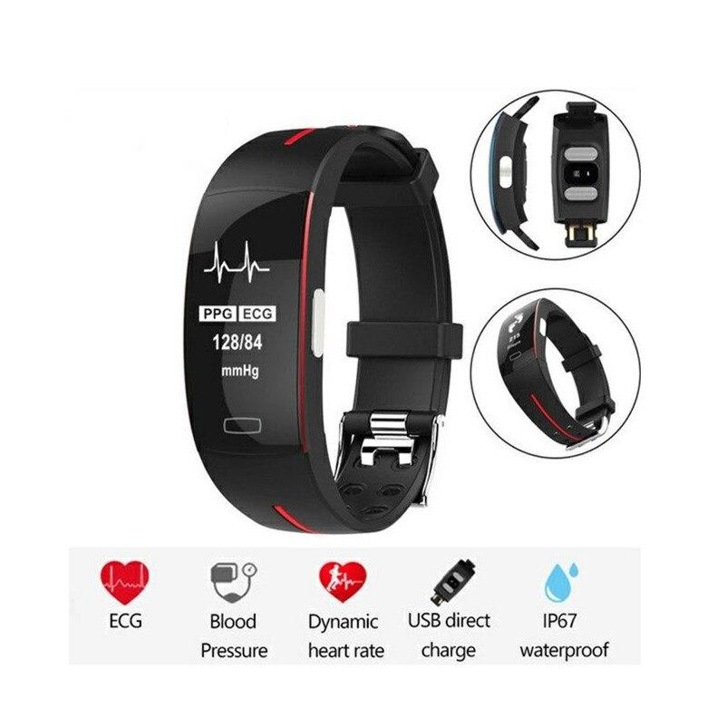 Bracelet intelligent Ip67 Ecg Ppg moniteur de fréquence cardiaque de pression artérielle traqueur de forme physique podomètre sport Bracelet intelligent pour Android Ios