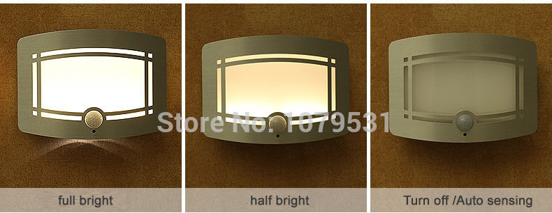 Stick-On LED Infrared Sensor Lamp Wall Light Body Motion Sensitive Night Light Ultra-bright Battery-operated aluminum213