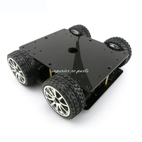 Aluminum Alloy 4WD Car Tracking Robot Smart Car 4 Wheel Drive Chassis With 4pcs 365A Full