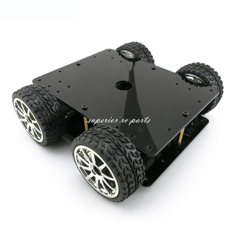 Acrylic Intelligent 4WD Car Tracking Robot Smart 4 Wheel Drive Chassis w 4ps 365A Full Metal Gear Motor Wheel Diameter 65mm GSX 2 wheel drive robot chassis kit 1 deck