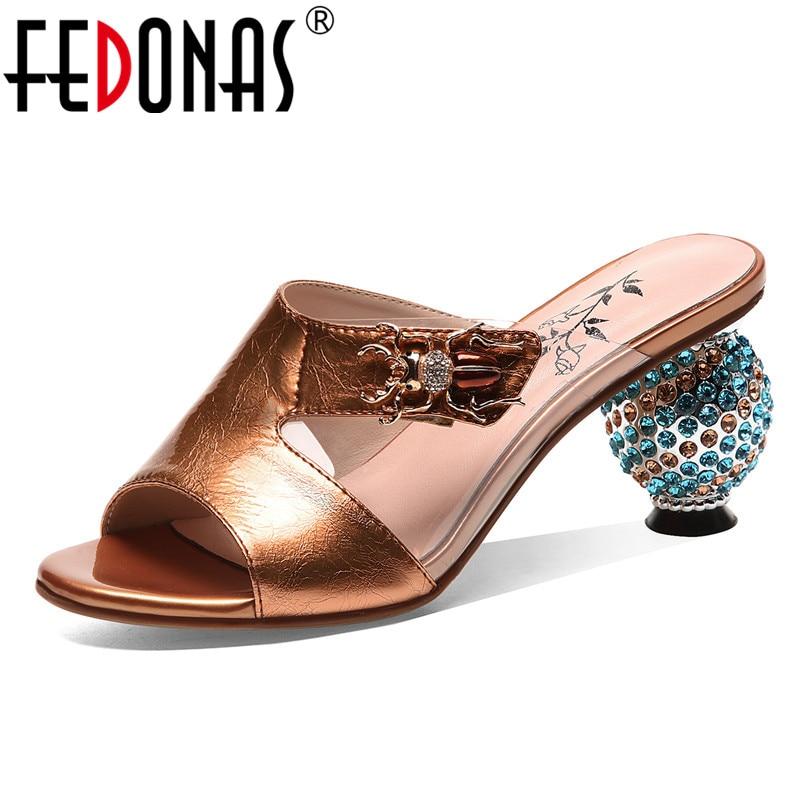Fedonas 2019 클래식 패션 솔리드 여성 샌들 여름 새로운 정품 가죽 하이힐 캐주얼 로마 신발 여성 파티 댄스 파티 신발-에서하이힐부터 신발 의  그룹 1