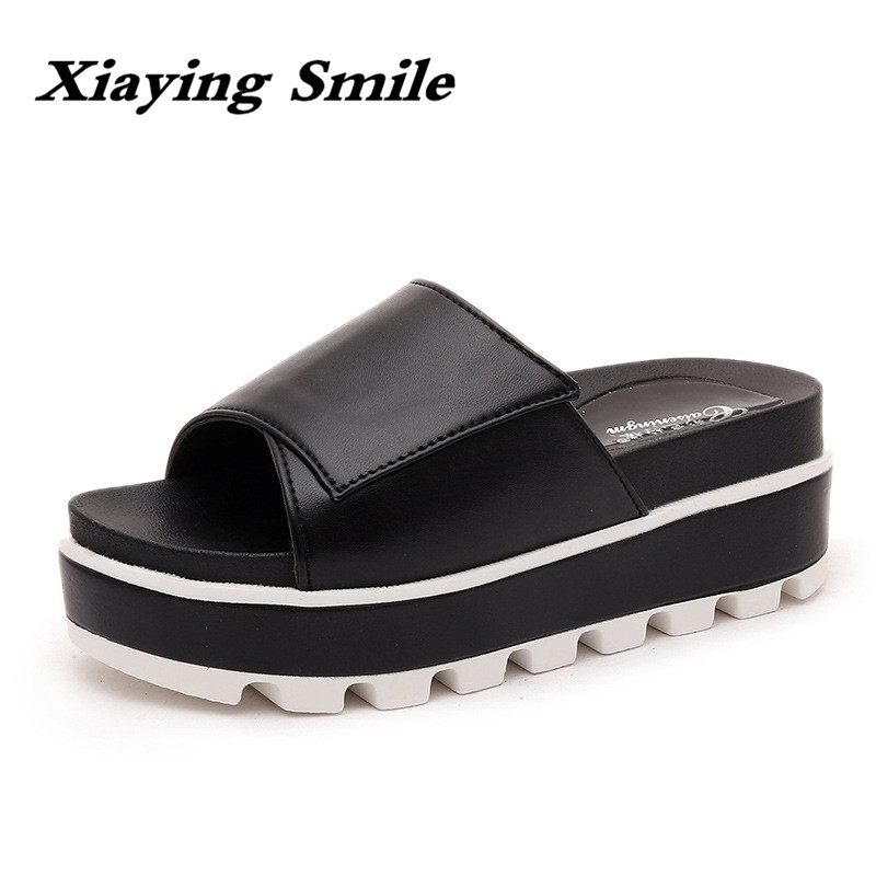 Xiaying Smile Summer Woman Slippers Sandals Women Shoes Fashion Leisure Wedges Platform Thick Sole Casual Creeper Slides Shoes xiaying smile woman sandals shoes women pumps summer casual platform wedges heels buckle strap flock hollow rubber women shoes