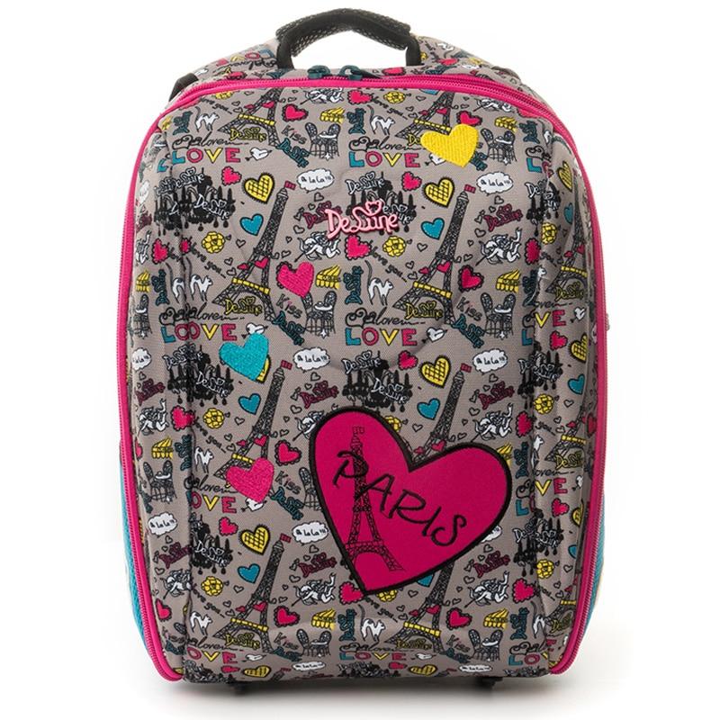 Delune Cartoon Bear Pattern School Bags for Girls Boys Schoolbag Children Orthopedic Backpack Primary Mochila Escolar Grade 1-5