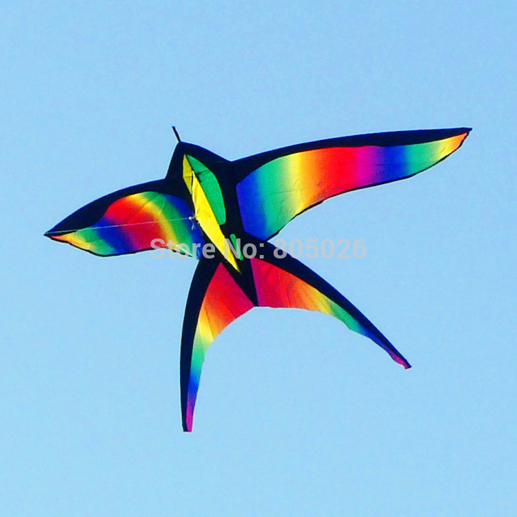 free shipping high quality rainbow bird kites with handle line flying toy airplane eagle kite ripstop nylon walk talk weifang
