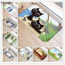 Hongbo Creative Cartoon Cat Prited Flannel Soft Door Mat Floor Mats Bath Kitchen Carpet 40x60cm Living Room Tapete Antislip