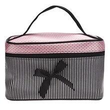 Lowest Price Women's Bag Square Bow Stripe Cosmetic Bag Big Lingerie Bra Underwear Dot Bags Travel Bag toiletry kits Sac