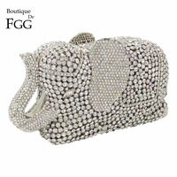 Gift Box Packed Gunmetal Plated Jet Crystal Evening Purses Women Handbags Purse Diamond Day Clutches Rhinestones