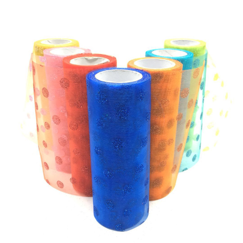 Glitter Dot Tulle Roll Spool 10Yards 15cm Tutu Wedding Deco Organza Birthday Party Supplies Clothing DIY Crafts Tulle Fabric in Party DIY Decorations from Home Garden