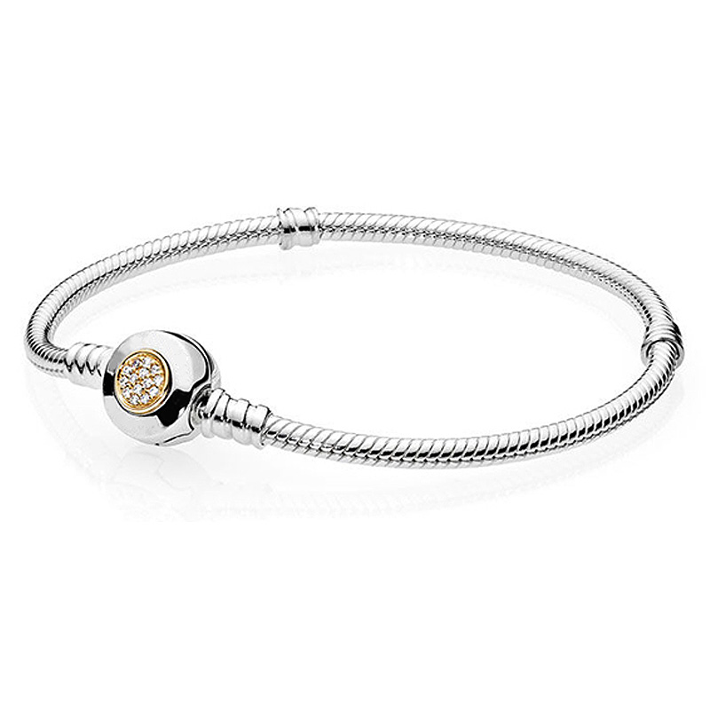 New 925 Sterling Silver Bracelet MOMEMTS Two-Tone Signature Snake Chain Bracelet Bangle Fit Women Bead Charm Pandora Jewelry 925 sterling silver bracelet rose logo signature padlock smooth snake bracelet bangle fit bead charm diy pandora jewelry