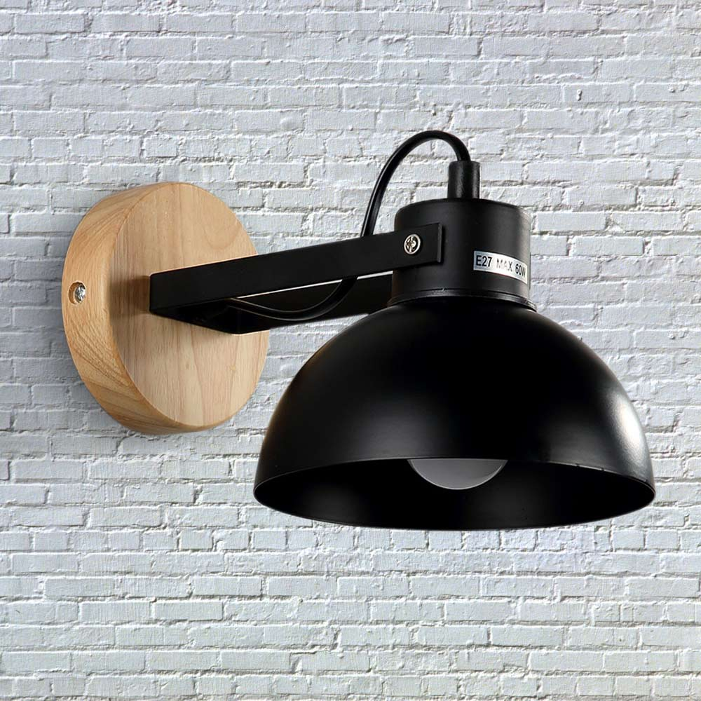 ФОТО Modern Minimalist Wall Lamps Sconces E27 Wooden Restaurant Bedroom Decorative Wall Lights Lamparas Home Lighting Fixture