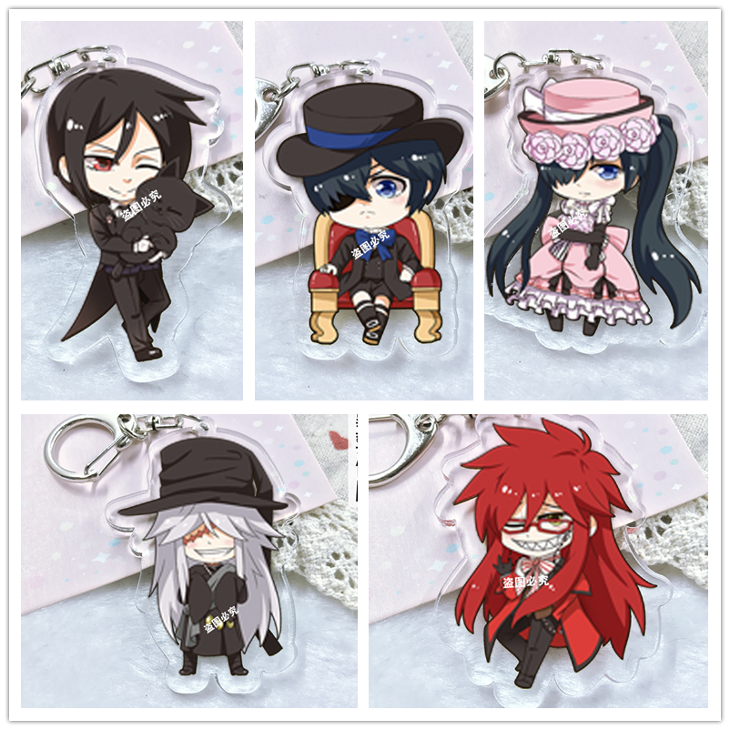 Kuroshitsuji Black Butler anime Acrylic keychain Pendant Keyring Cosplay surrounding key chains ornament new